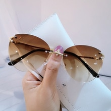 Retro Sunglasses Women Brand Designer Fashion Rimless Gradient Sun Glasses Shades Cutting Lens Ladie