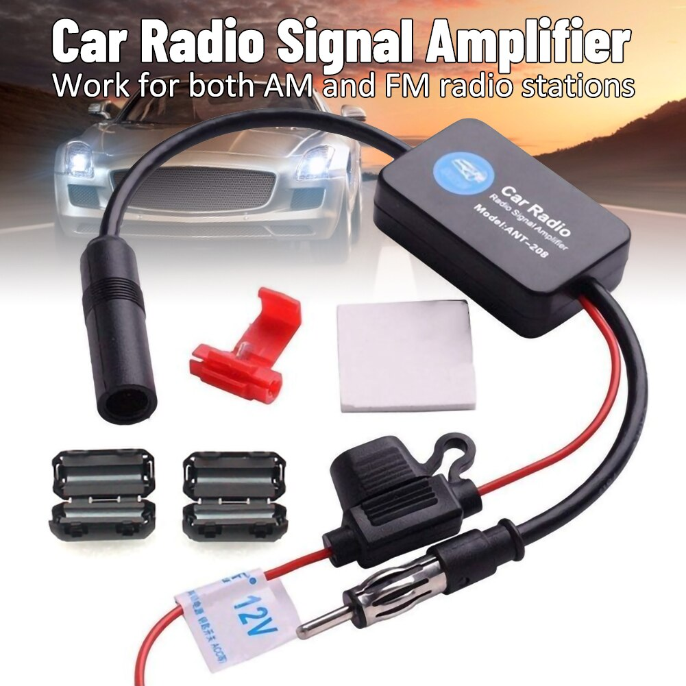 Car Stereo FM&AM Radio Signal Antenna Aerial Signal Amp Signal Amplifier Universal Auto Car Radio FM Signal Booster for Vehicle 21 5 length black car antenna roof am fm aerial car stereo radio antenna car accessory for ford focus 2000 2007