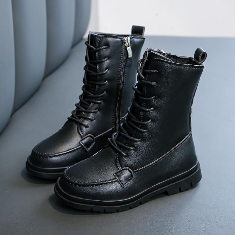 Botas para niños, otoño 2020, zapatos suaves para niños, zapatos para bebés, botas de marca para niñas, botas de moda para niños pequeños, zapatos negros para estudiantes