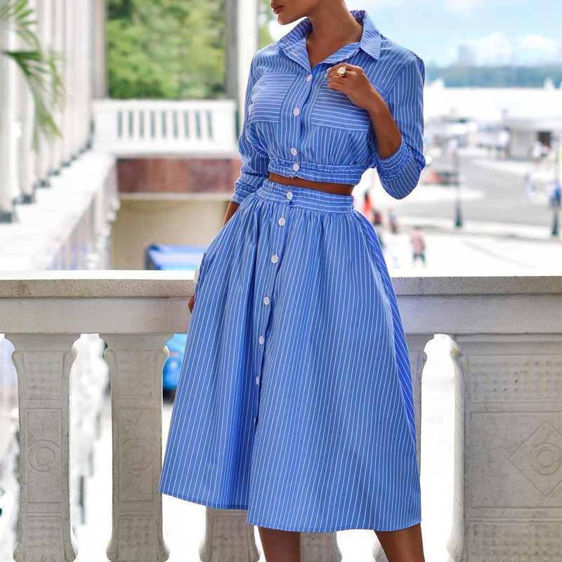 Autumn Fashion Stripe Skirt Sets Women Simply Casual Suits Elegant Office Slim Blouse Turn-down Collar Female Shirt Midi Outfit