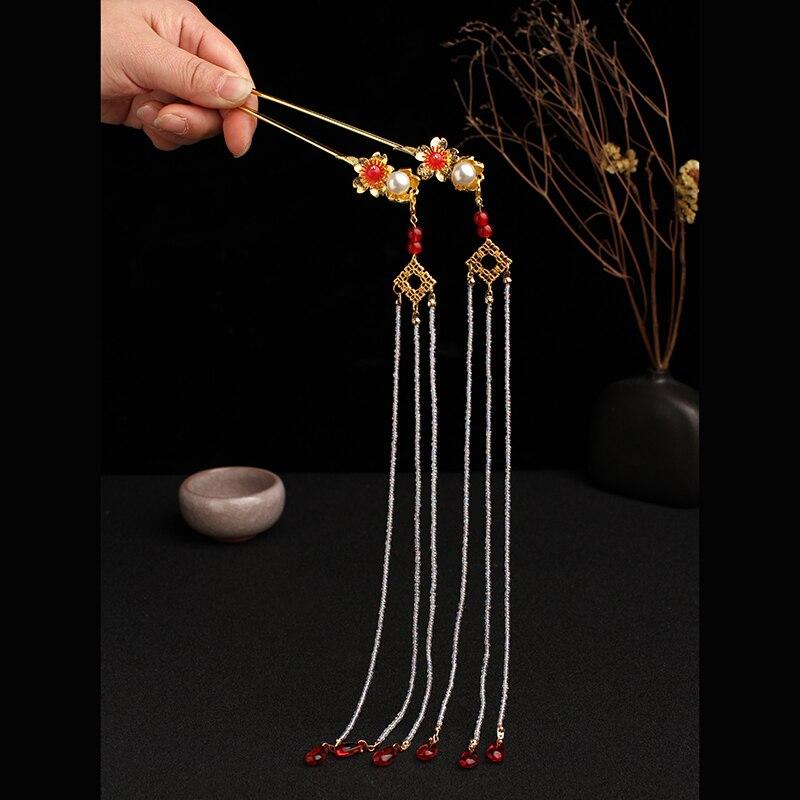 Hadas ancestrales estilo pelo Pelo accesorios mujer Hanfu clásica trajes larga borla Kanzashi peine hecho a mano tocado