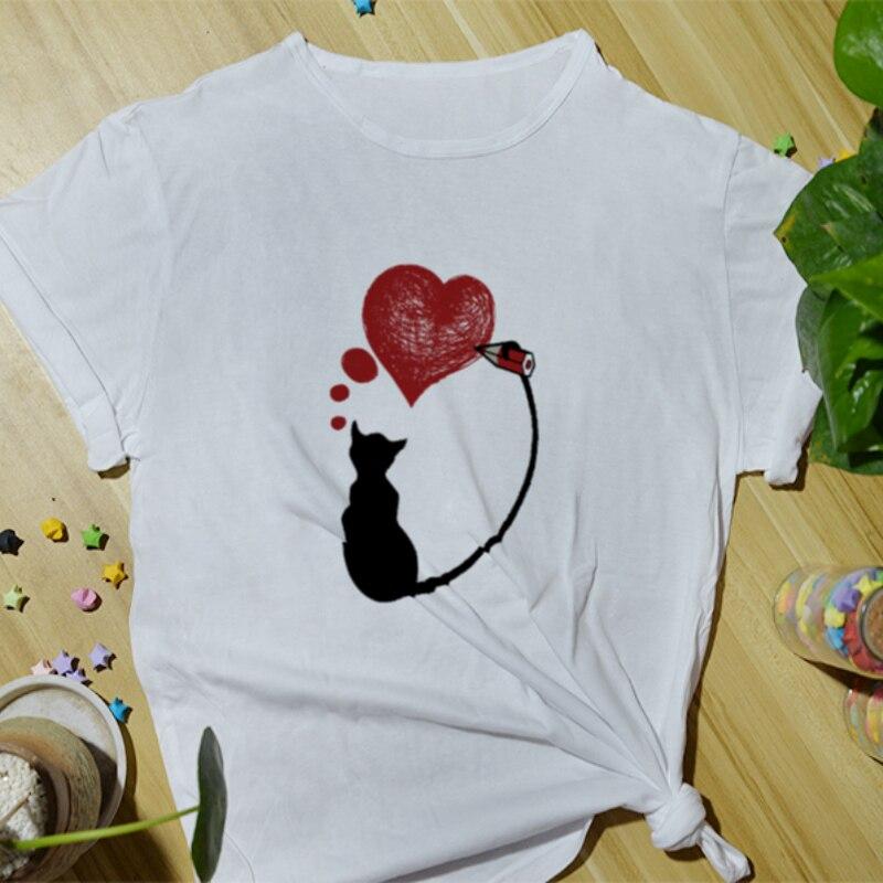 Summer Women Cotton T-Shirt Fashion Casual Top Tees Funny Print Cartoon Cute Daily Basic Short Sleeve O-Neck Shirts for Women