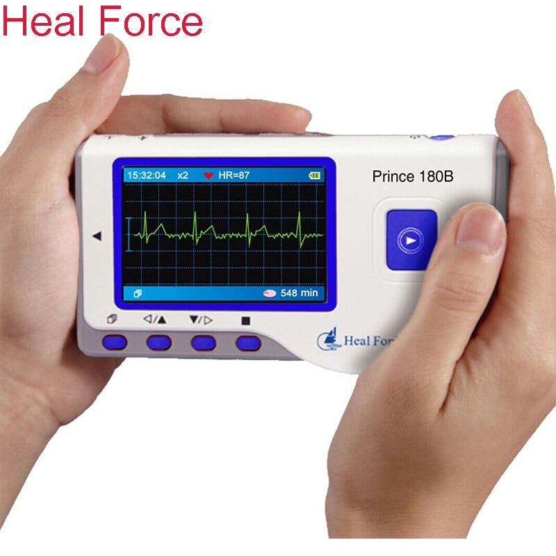 شفاء قوة Prince-180B ECG هولتر مراقب ، المحمولة EKG المحمولة شاشة قياس القلب مع شاشة ملونة