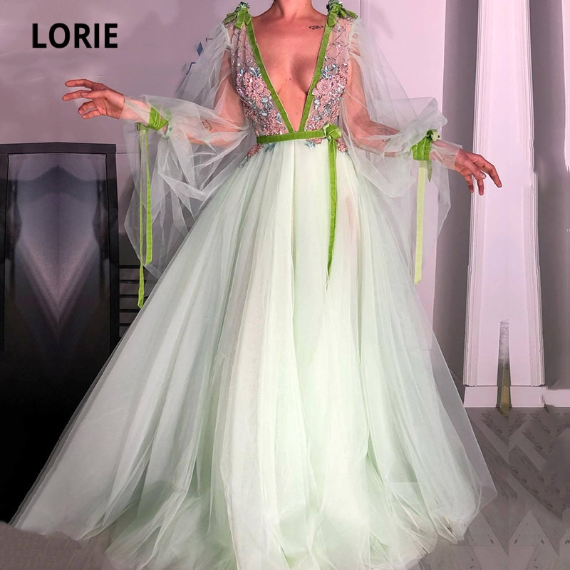 LORIE Evening Dress with 3D Flowers Sexy V-Neck Appliques A-Line Long Sleeve Arabic Prom Gown Tulle Party Dress for Graduation недорого