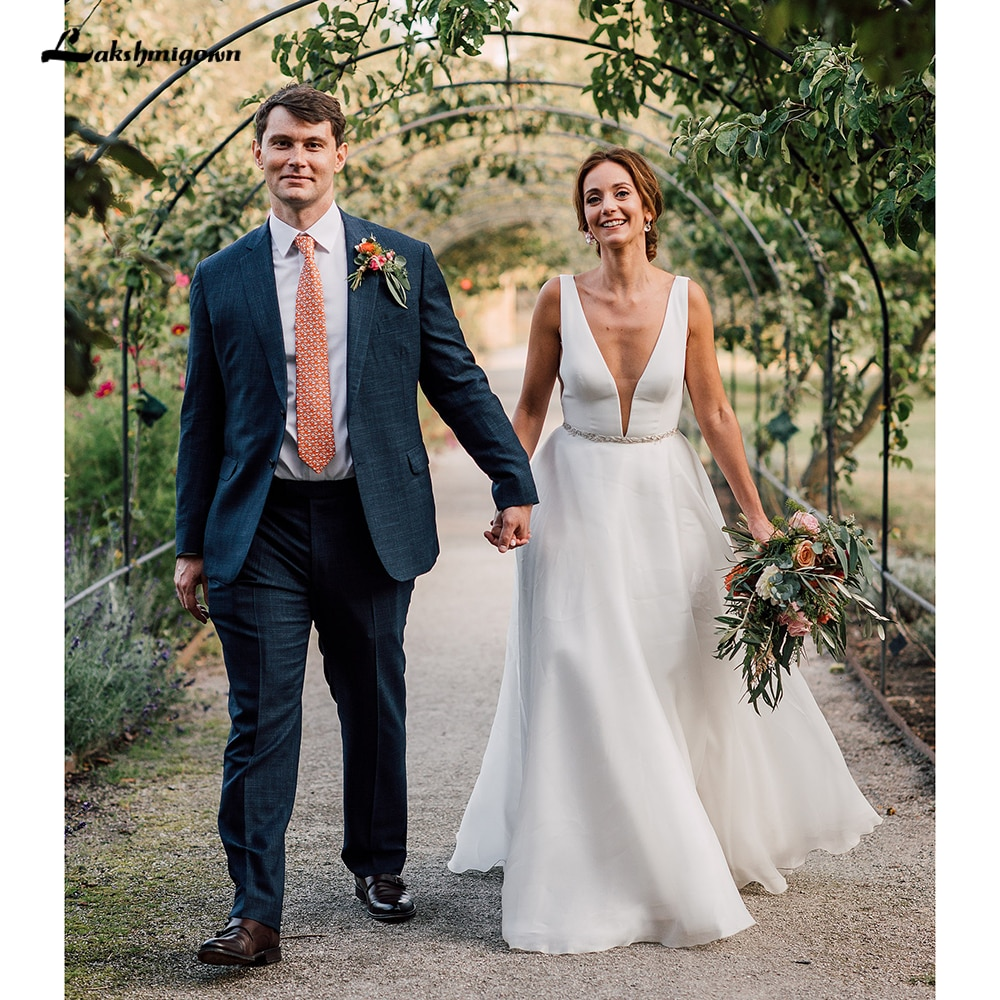 Vestido para boda playa 2021 al aire libre Simple cuello V profunda...