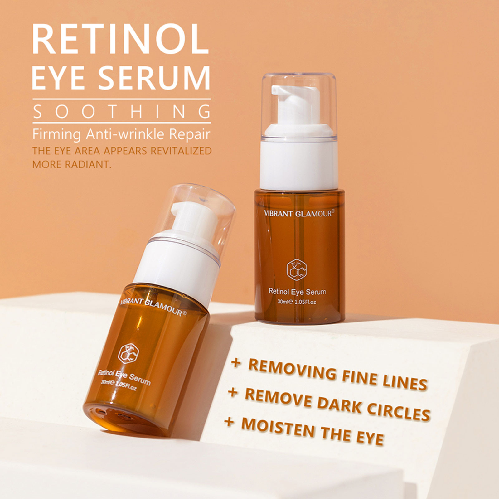 VIBRANT GLAMOUR Retinol Eye Serum Anti-Wrinkle Remove Eye Bags Fade Fine Lines Dark Circles Brighten Whitening Eye Care 30ml