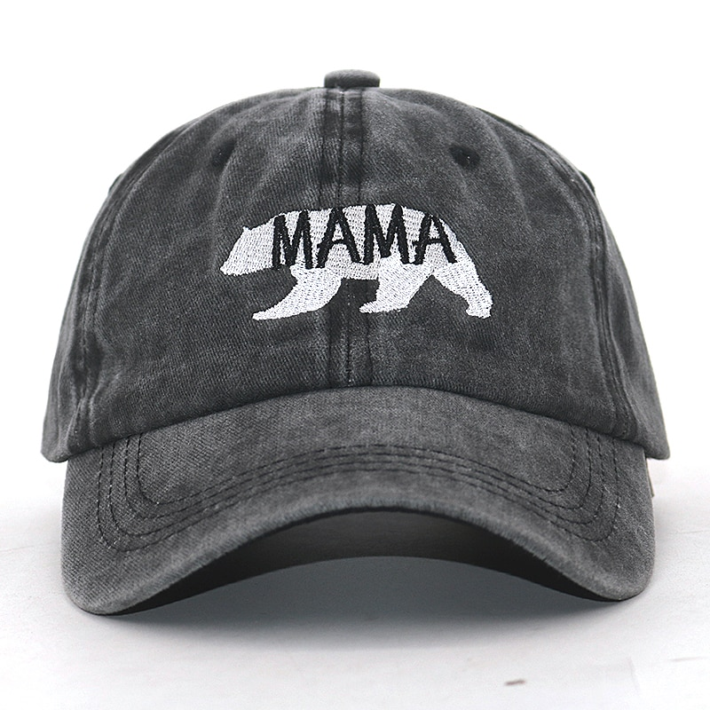 new arrival MAMA bear dad hat 100% cotton washed cartoon embroidery fashion sports baseball cap for