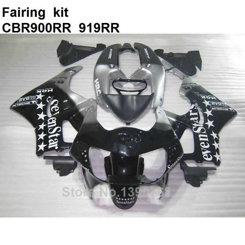 Para Honda CBR carenagens 919RR 98 99 prata preto kit carenagem da motocicleta carroçaria CBR900RR 919 1998 1999 KL18
