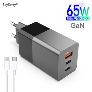 BaySerry GaN PD USB Fast Charger 65W Quick Charger Type C For Macbook For iPhone 12 Pro Max 11 Support AFC SCP QC 4.0 3.0 Laptop