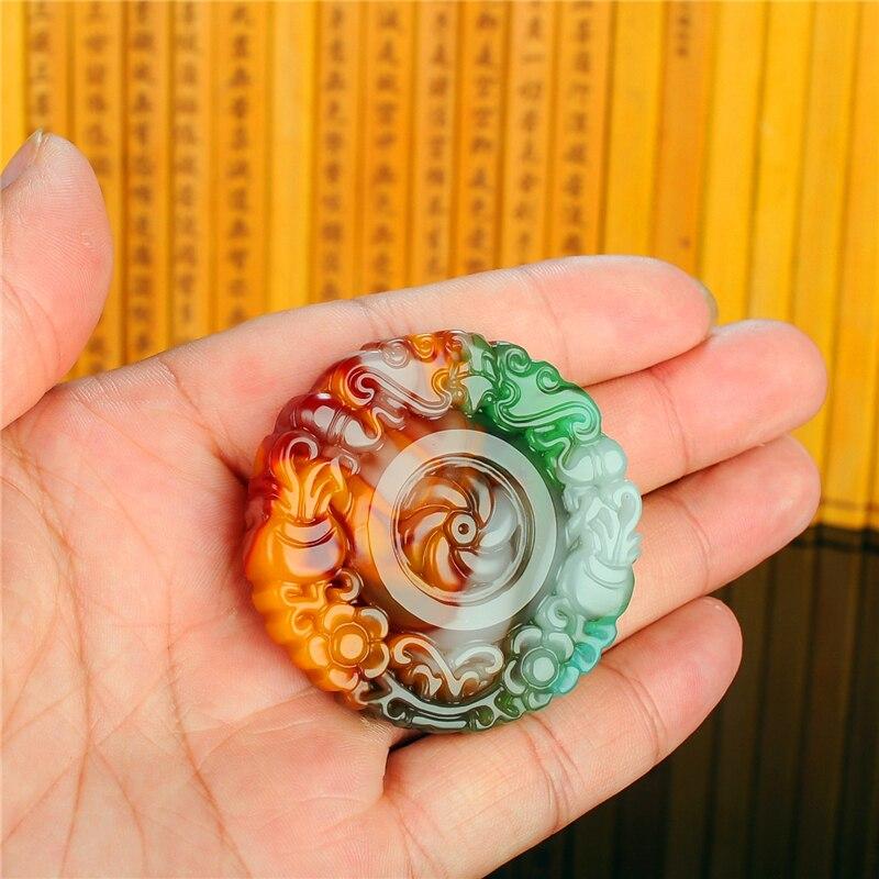 Colgante de flor de Jade Hetian Color Natural joyería jadeita China amuleto...