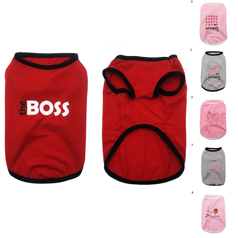 Summer Dog Clothes For Small Dogs Vest Shirts Strawberry Love Heart Printed Sleevess Puppy Pet Clothing Dog Costume Accessories