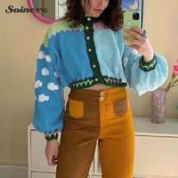 crop cardigan women sweater 2021 autumn winter long sleeve jumper knitwear print y2k knitting sweater fashion casual street