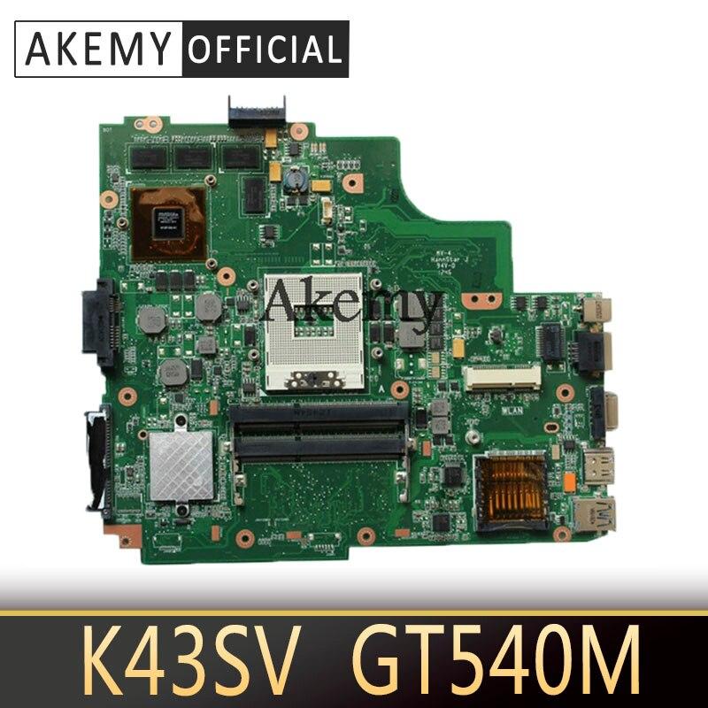 Placa base para ordenador portátil Akemy original K43SV para ASUS K43SV K43S X43S K43SJ K43SM placa base probada GT540M