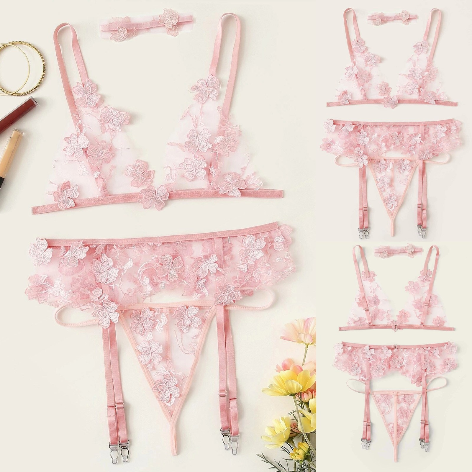 4pcs Sexy Underwear Set Flower Embroidered Garter Push-up Bra Panty Lingerie Thin Hang One's Neck Thong intimates Sets #40