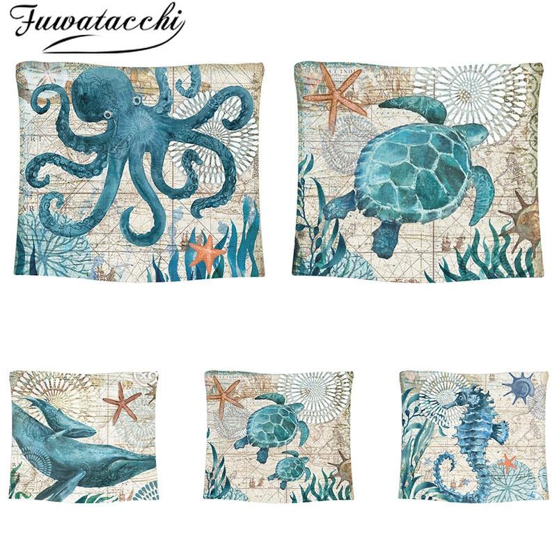 Fuwatacchi estilo marinero mar tortuga tapiz de pared caballo de mar patrón hogar sofá decorativo Tapete dormitorio Yoga Mat 2020 nuevo