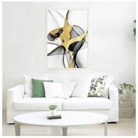 Peinture doree abstraite avec Triple affiches et imprimes  toile a la mode  tableau mural dart pour salon  decoration de maison luxueuse