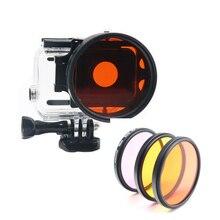 3 farbe filter für GoPro Hero 6 5 7 wasserdichte fall rot gelb lila + ring adapter