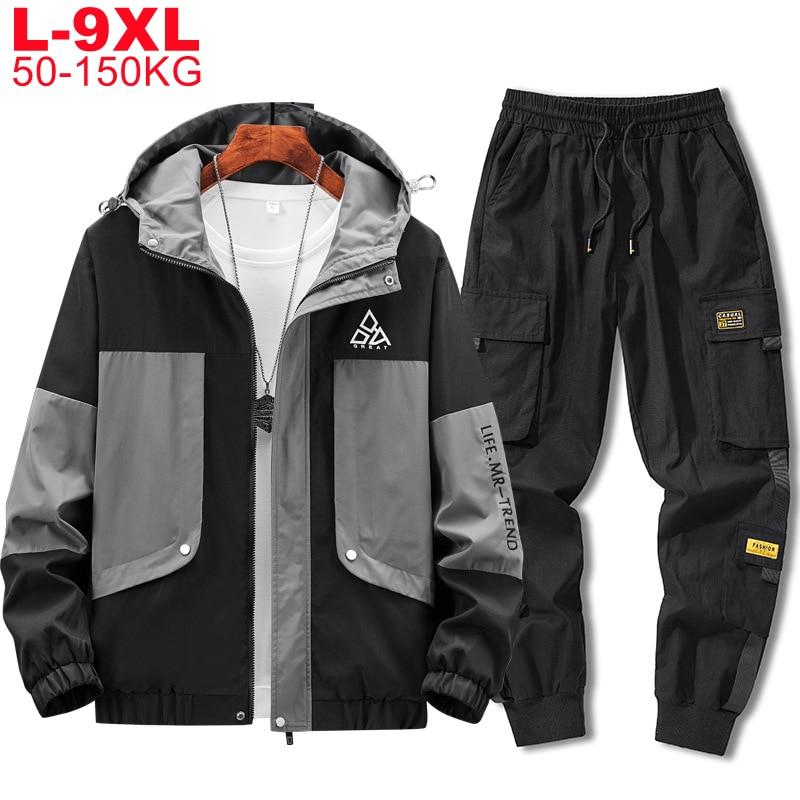 Mens 2 Piece Outfits Men Sportwear Jacket Pants Sets Plus Size Mens Sporting Hip Hop Tracksuit Streetwear Big 9xl 8xl 7xl Autumn