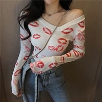 off shoulder slanted collar top womens european and american sexy micro transparent printed top slim lips printed thin t shirt