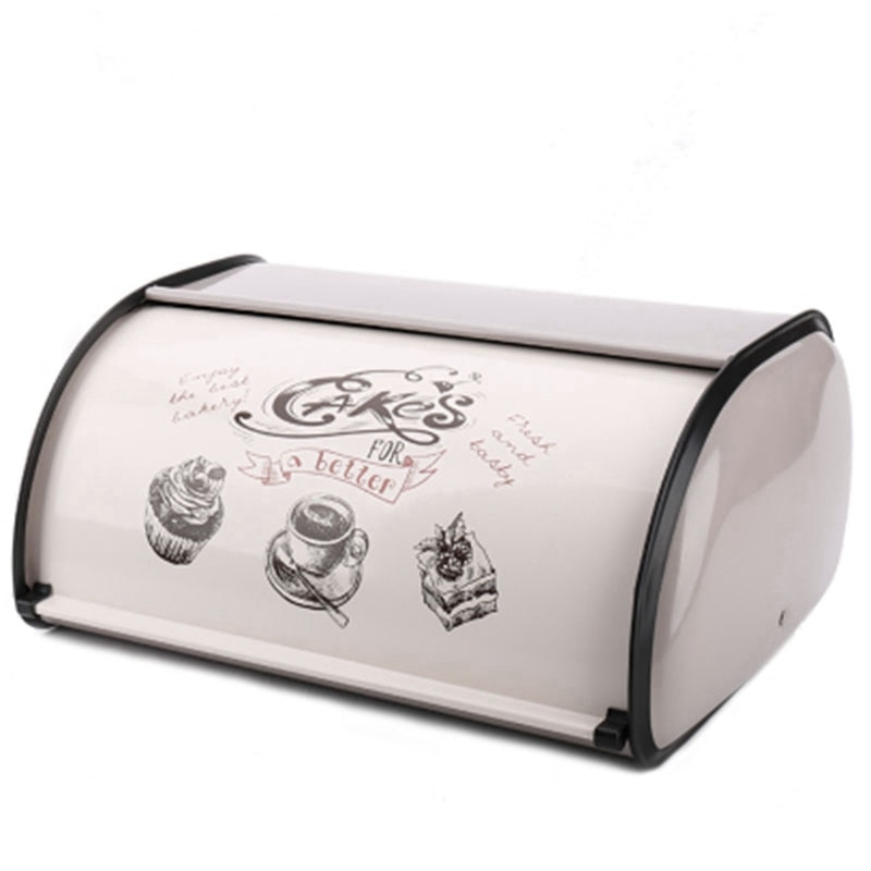 صندوق خبز عتيق ، صندوق تخزين دوار ، رمادي فاتح ، مسحوق صغير مطلي ، للخبز ، الحديد ، أواني المطبخ ، الديكور المنزلي ، صندوق الوجبات الخفيفة