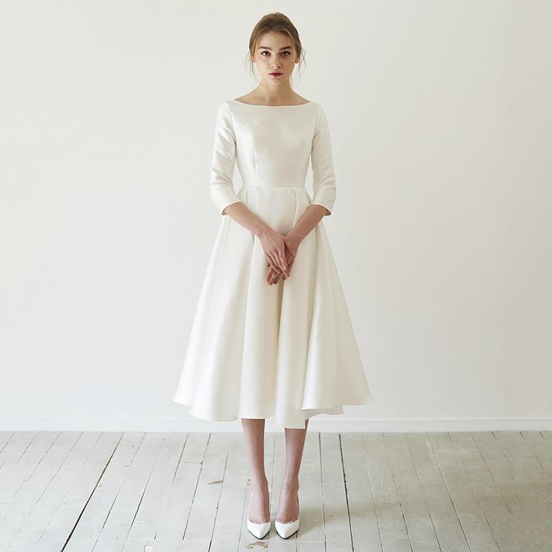 Vestidos de novia simples satinados con manga larga, nuevos vestidos de novia...
