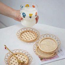 Japon tarzı bambu dokuma daire el yapımı bambu bardak altlığı bardak tutucu Pot ped çay Mat Rattan dokuma bardak tutucu Coaster