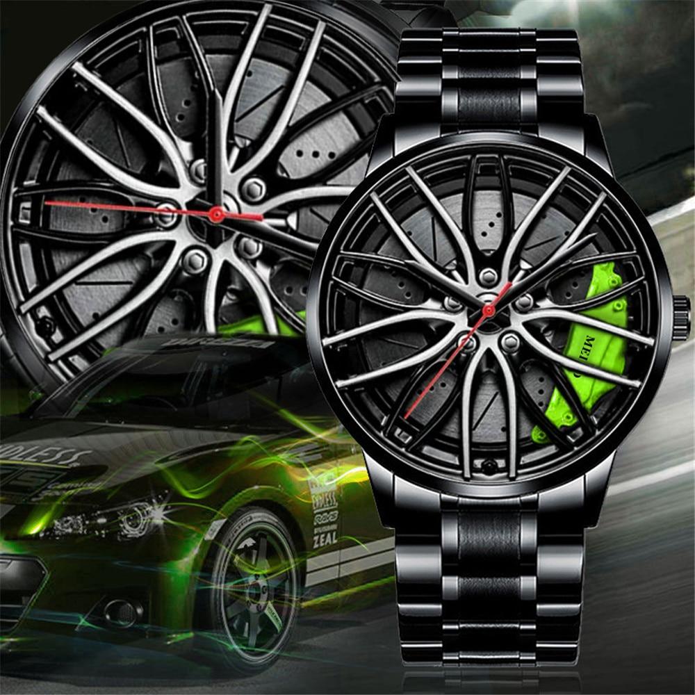 Роскошные мужские часы спортивные автомобильные часы 3D, спортивные наручные часы с колесиком, автомобильные кварцевые мужские часы, Креати...