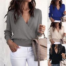 ZOGAA Women Blouse Loose Long Sleeve Deep V Neck Shirts Female Chiffon Blouse Plus Size Women Shirt Tops Solid Color Soft Blouse