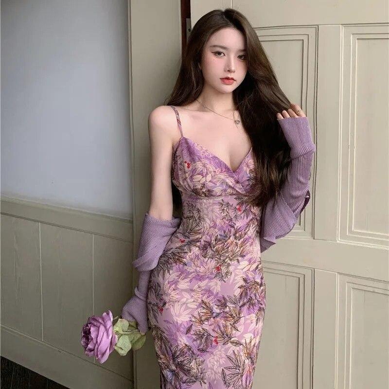 Фиолетовое платье с масляным рисунком и цветочным рисунком, французская длинная юбка на бретельках в стиле ретро