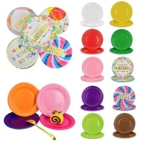10pcs 18cm7inch disposable paper plates multicolor round cake dishes for wedding birthday party decor dinner tableware supplies