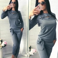 sportswear hollow out women two piece set casual long sleeve sweatshirt suit solid color autumn thin tracksuit street