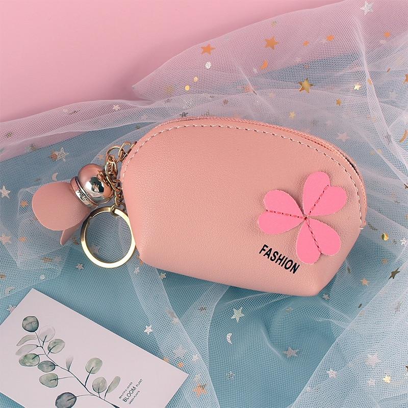 Clover Mini Girl Coin Purse Fashion Trend Simple Elegant Cute Portable Wallet Multi-function Card Holder Pendant Coin Purse