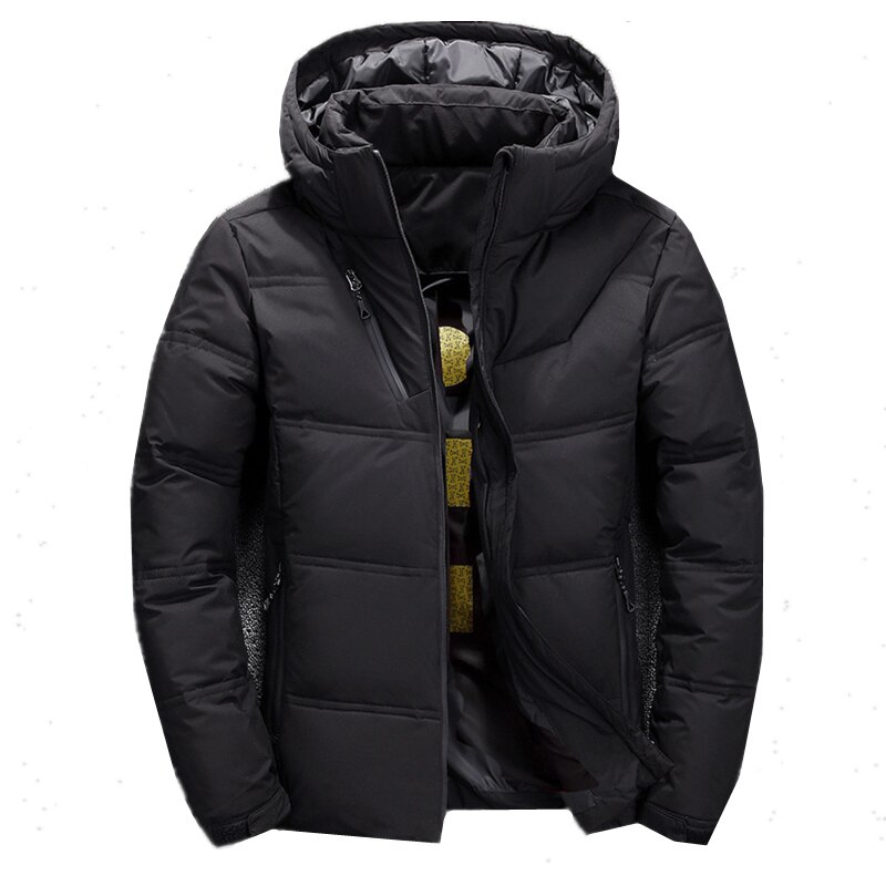 Chaqueta de plumón sólida de marca de moda FOJAGANTO para hombre, nueva chaqueta informal con capucha para hombre, chaquetas gruesas cálidas para hombre