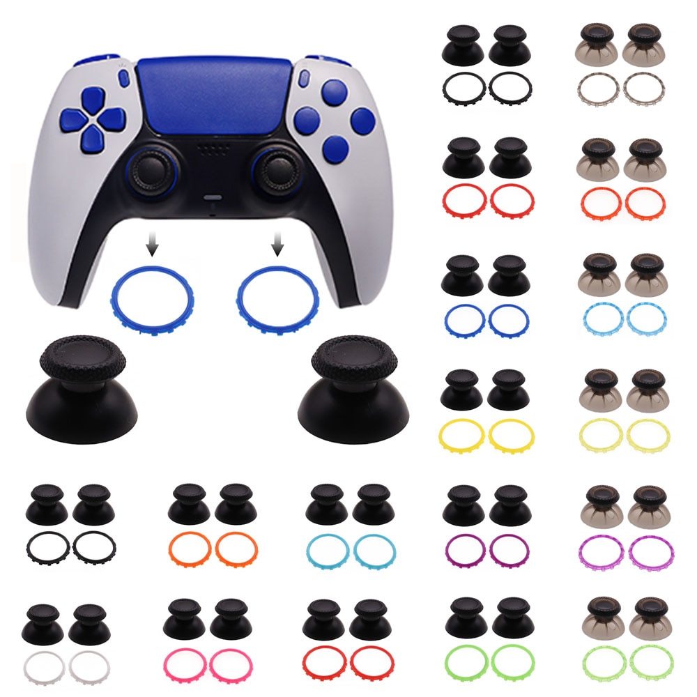 TingDong 4 шт. = 1 комплект 3D аналоговые гриб Кепки джойстик Крышка с акцент кольца для Sony Playstation 5 PS5 контроллер