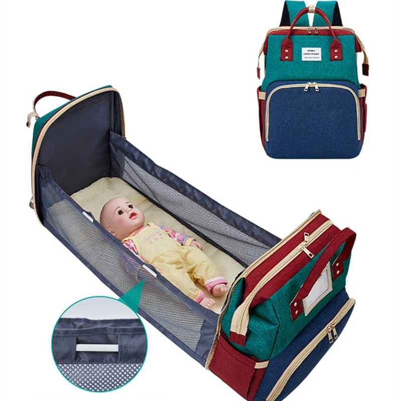 2 in 1 USB Foldable & Removable Travel Bassinet Baby Crib Diaper Bag Infant Sleeper Baby Nest With Mattress Nappy Changing Bag