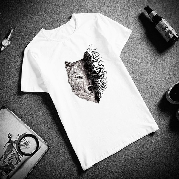Fashion Short Sleeve T Shirt Wolf Head And Bat Cotton Top Tees O Neck T-Shirt Unisex TShirt t t flynn hunted wolf