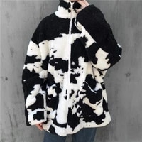 harajuku large size zip up lambswool coat for women 2020 winter new streetwear cow print warm cashmere lambswool baseball jacket