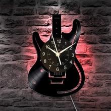 Musical Guitar Led Vinyl Wall Clock Color Change Decorative Home Vintage Gift(Size: 12 inch, Color: Black)