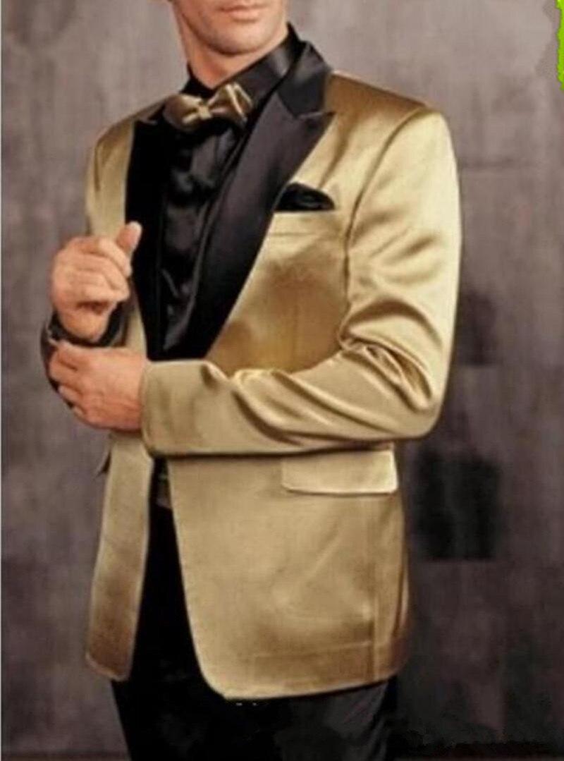 New One Button Gold Jacket Black Pants Groom Tuxedos Peak Lapel Groomsman Men Prom Blazer Bridegroom Suits (Jacket+Pants+Tie) 21