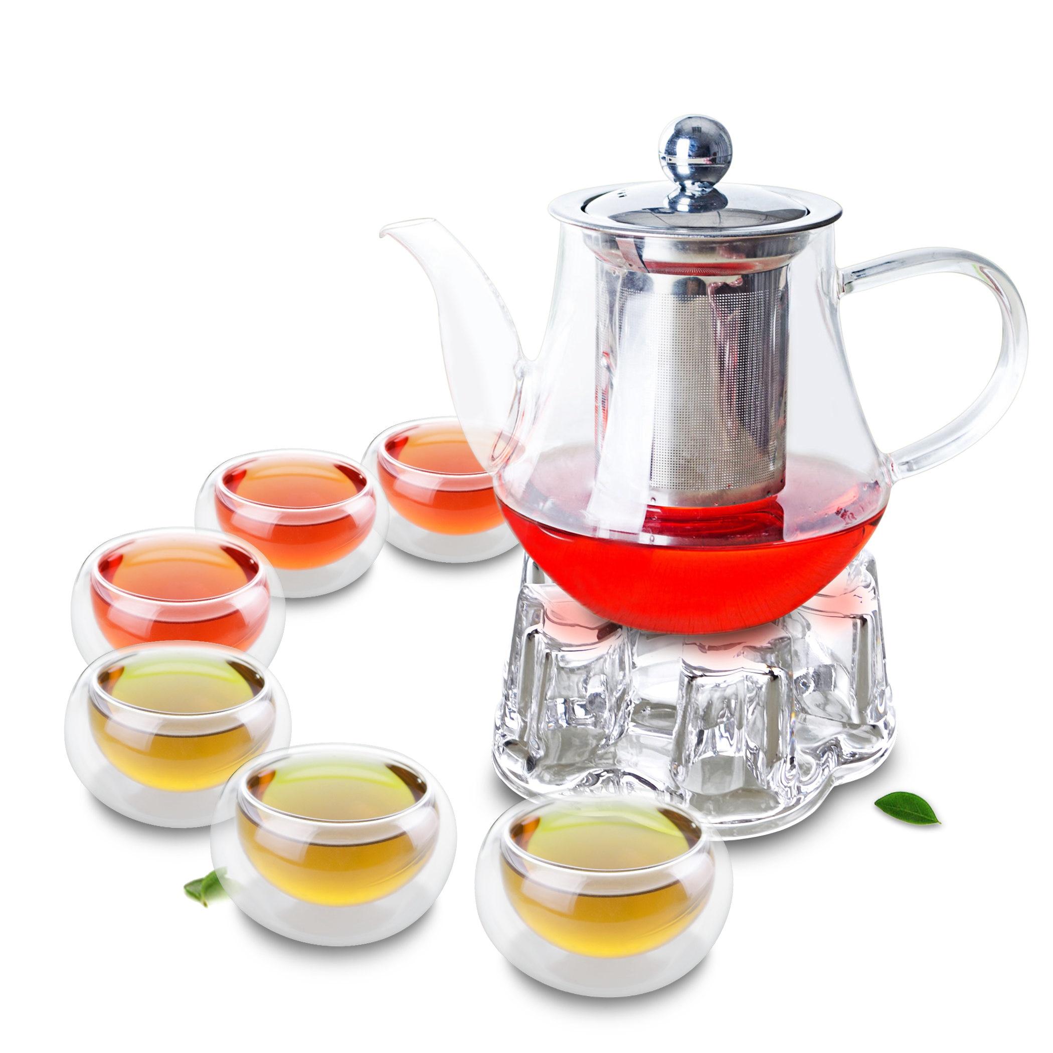 1x 8in1 الكونغ فو القهوة الشاي مجموعة B-Big 565 مللي الزجاج الشاي وعاء ث/الفولاذ المقاوم للصدأ Infuser + الكريستال دفئا B + 6 * مزدوجة الجدار طبقة أكواب