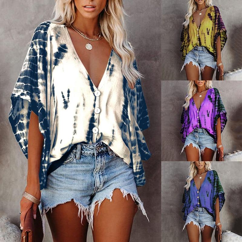 New Summer Casual V Neck Bat Sleeve Tie-Dye Print Loose Streetwear Vintage Oversized Shirts Women's Blouse Ladies Plus Size Tops