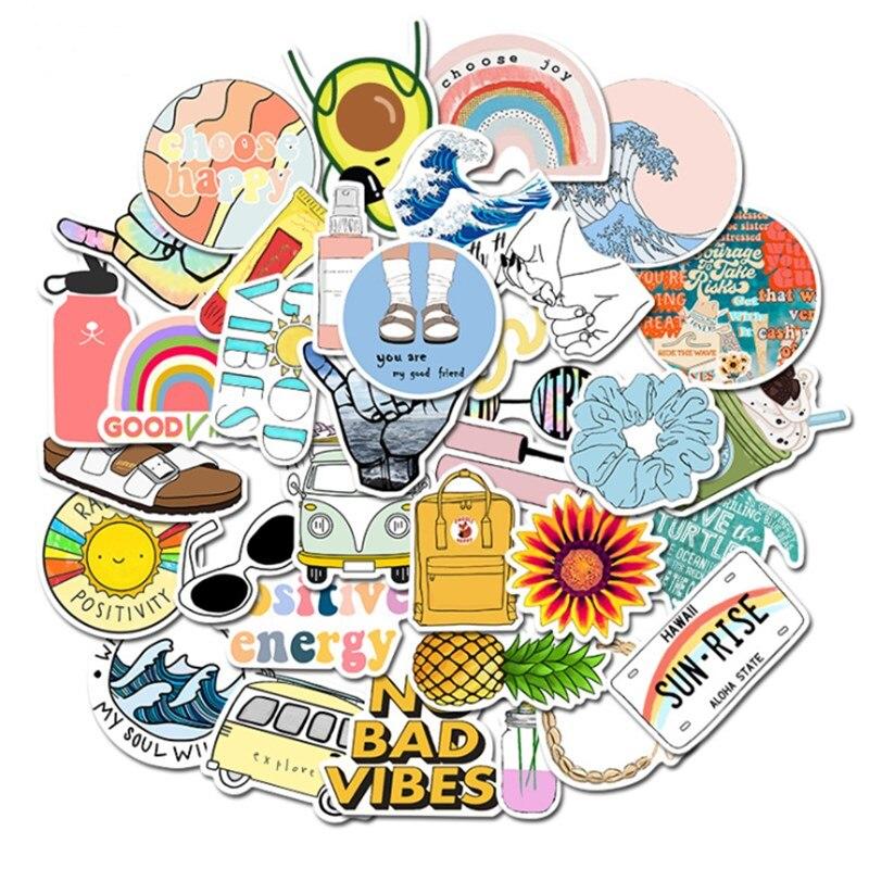 35 шт. Vsco наклейки для гидро фляжки Vsco девушки вещи милые водонепроницаемые Стильные наклейки для компьютера ноутбука Macbook Ipad винил