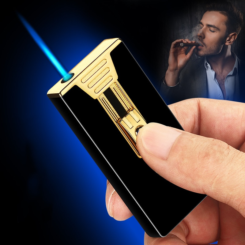 Ultra-thin Metal Flint Lighters Gas Gasoline Lighter Butane Turbo Jet Torch Lighter Cigar Cigarettes Windproof Lighter Gadgets