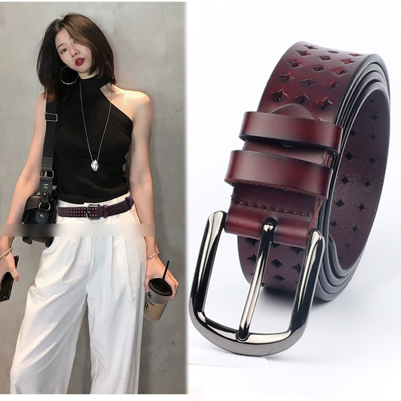 ELEGZO Genuine Leather Belts For Women Fashion Retro Jeans Cow Belts Female Pin Buckle Leather Network Hot Selling Waistband elegzo genuine leather belts for women fashion retro jeans belt female solid color pin buckle network hot selling waistband