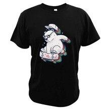 Arc-en-ciel Skate Bear T-Shirt Skateboard amoureux de la musique Animal jouant à la planche à roulettes impression numérique grand cadeau T-Shirt