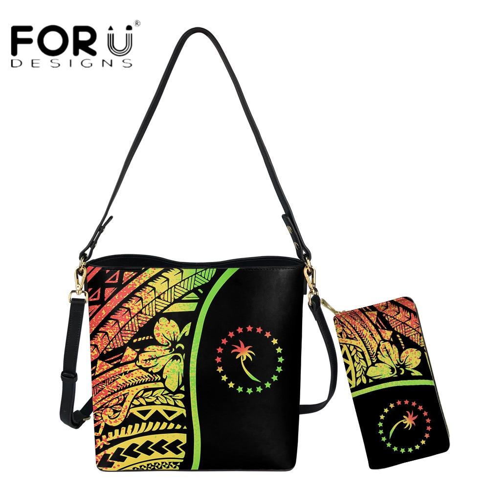 FORUDESIGNS الاتجاه الجديد Chuuk الكركديه البولينيزية طباعة فاخرة Woomen 2 قطعة مجموعة حقيبة دلو ومحفظة حقيبة الكتف السفر
