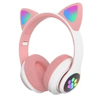 colorful kids headset wireless glowing cute led cat ear paw girls gift headphones hifi stereo bass 3 5mm plug with mic