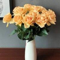 Bouquet de roses artificielles pour la saint-valentin  5 pieces lot  fausses fleurs  toucher reel  artisanat bricolage  large  decoration de maison