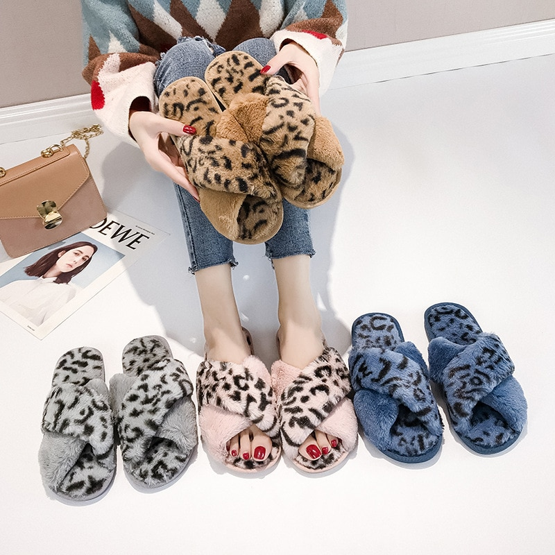 2019 leopard fur slides women slippers dot home indoor soft slippers women pink plush slippers home