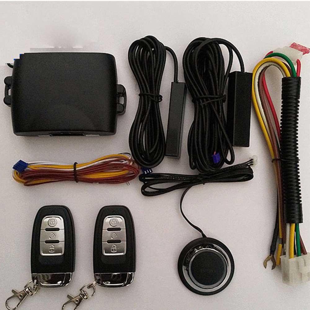 Universal PKE sistemas de alarma de coche Kit Central remoto de coche cerradura de la puerta sistema de entrada sin llave de bloqueo Central con Control remoto